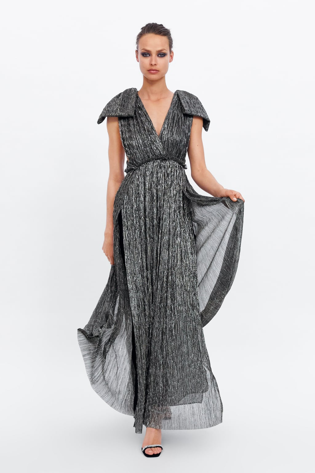 SILVER METALLIC THREAD DRESS - 149.00 GBP