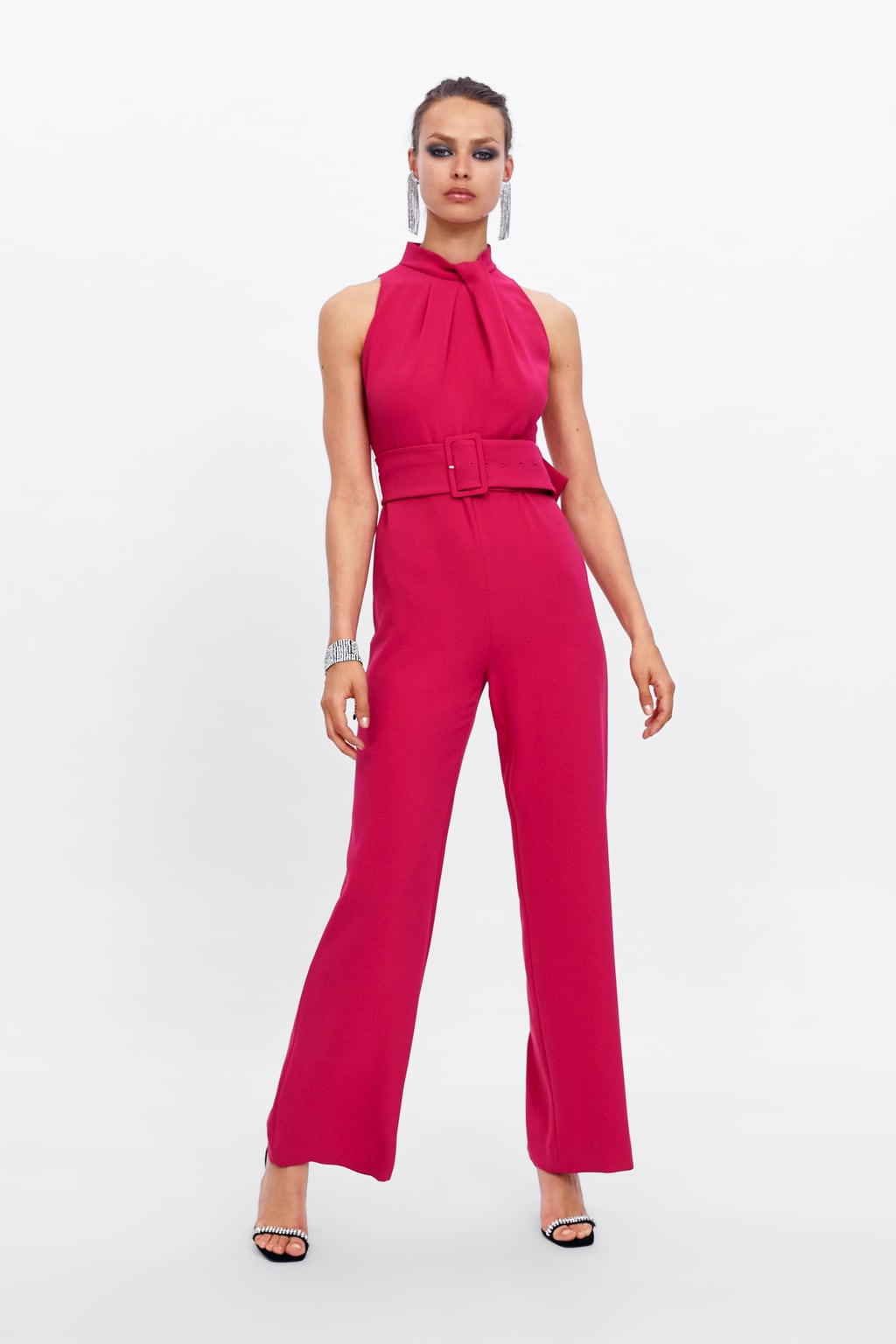 FUCHSIA BELTED JUMPSUIT - 69.99 GBP