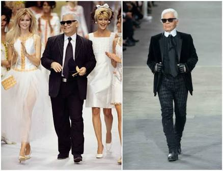 Karl Lagerfeld (1933-2019) before and after his diet. Photo from starschanges.com