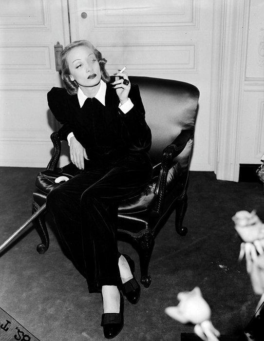Yves Saint Laurent's muse for the Le Smoking tuxedo, actress Marlene Dietrich.