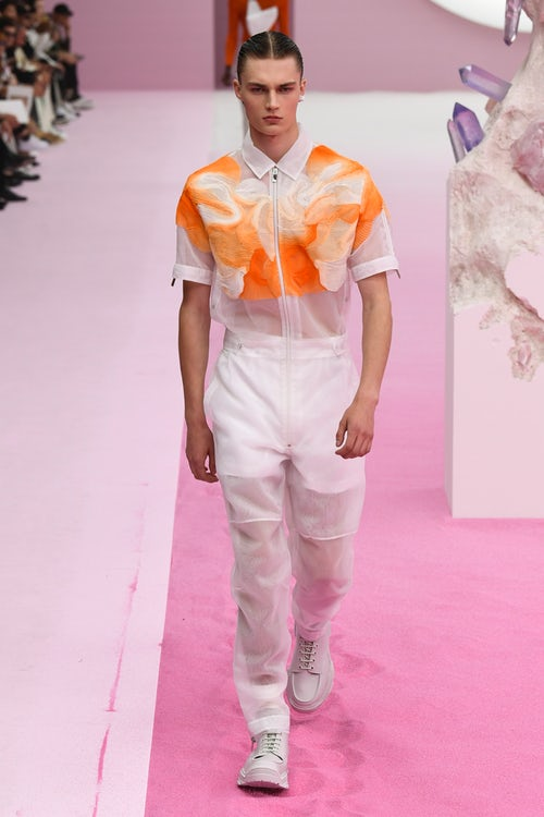 Translucent overalls for Dior Men Spring 2020 collection.