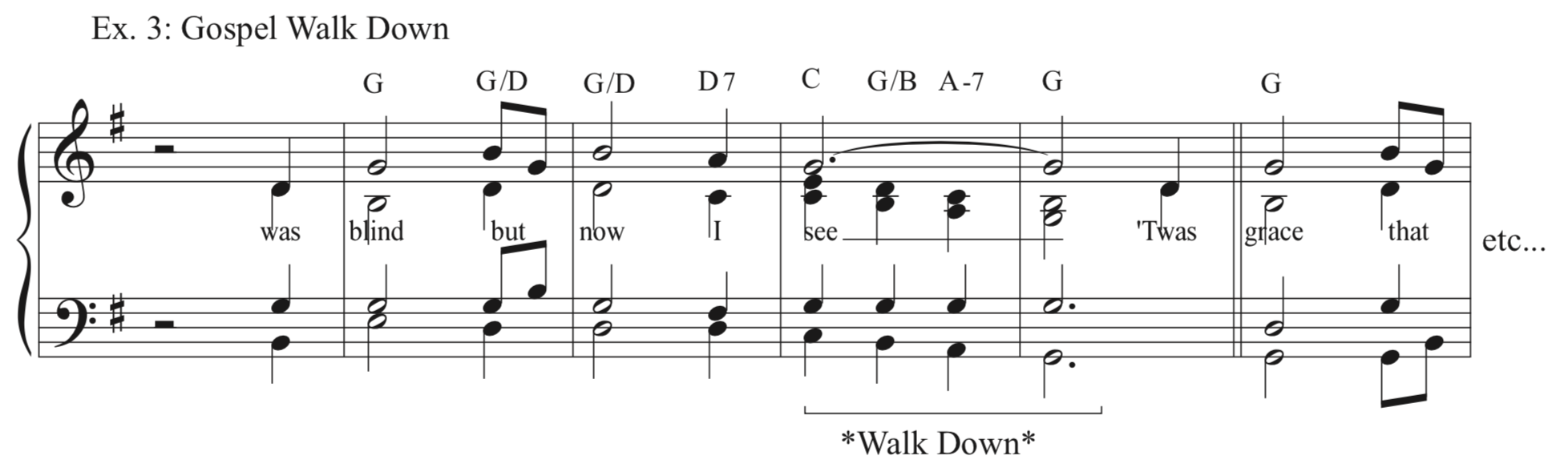 Ex. 3 - 'Gospel' Walk Down - A traditional cadence with a familiar sound that we've all heard many times. A great stand-by, especially for hymns with a gospel-y vibe.