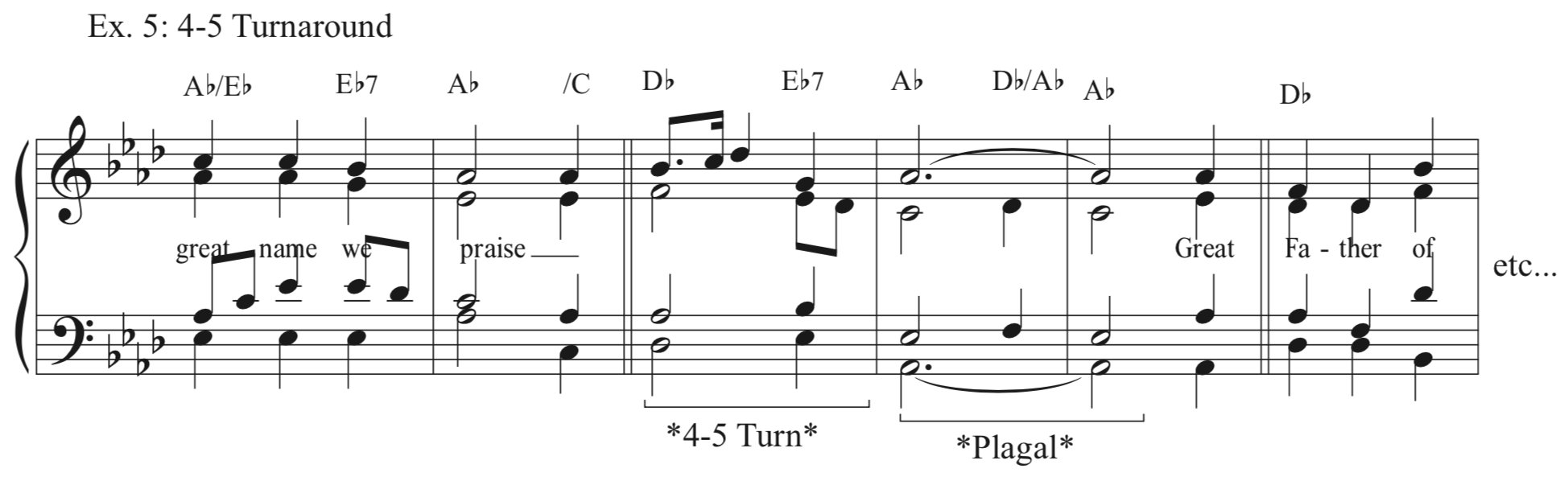 Ex. 5 - 4-5 Turnaround - This one is a little bit longer and has a 4-5 turnaround with a simple melody as well as the simple plagal cadence. The melody here is just something I made up - it can be anything, but I suggest something simple.