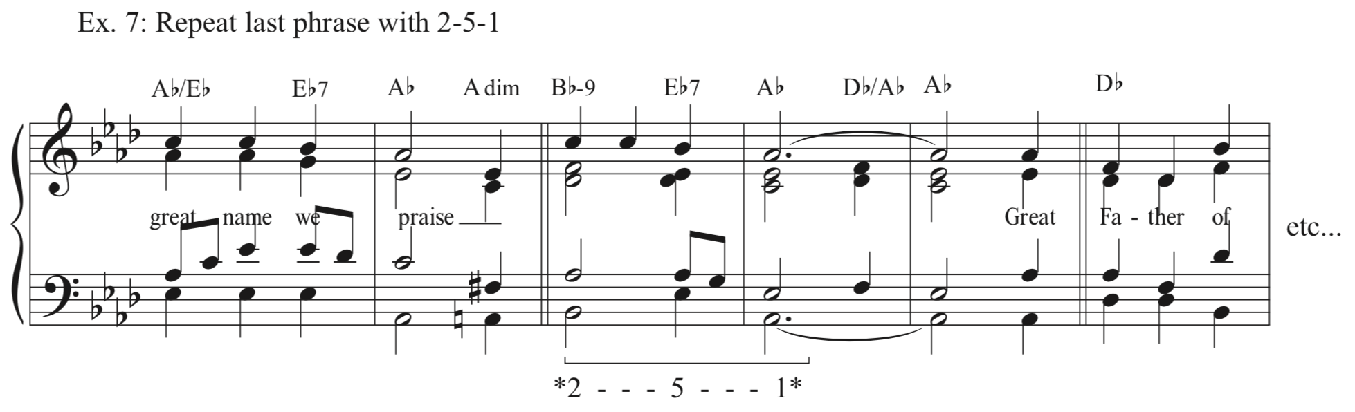 Ex. 7 - Repeat Last Phrase with 2-5-1 - You could repeat the last phrase verbatim, but in some hymns that may be confusing, and why not change things up a bit? Often a 2-5-1 progression will fit well under the final phrase of a hymn, as it does here.