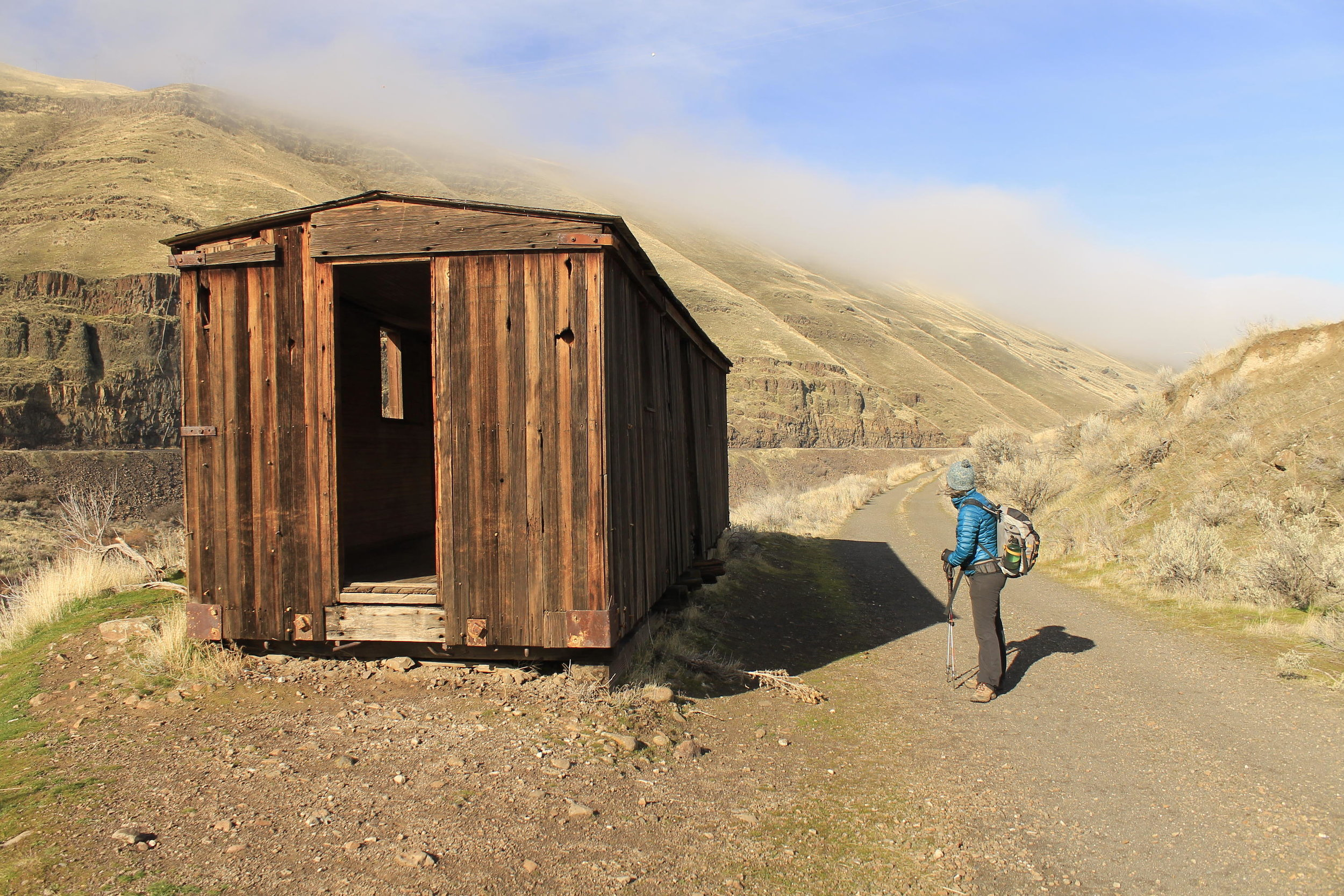 In memorium: The Deschutes River Trail boxcar, January 2018. The boxcar burned in the Substation Fire during the summer of 2018.