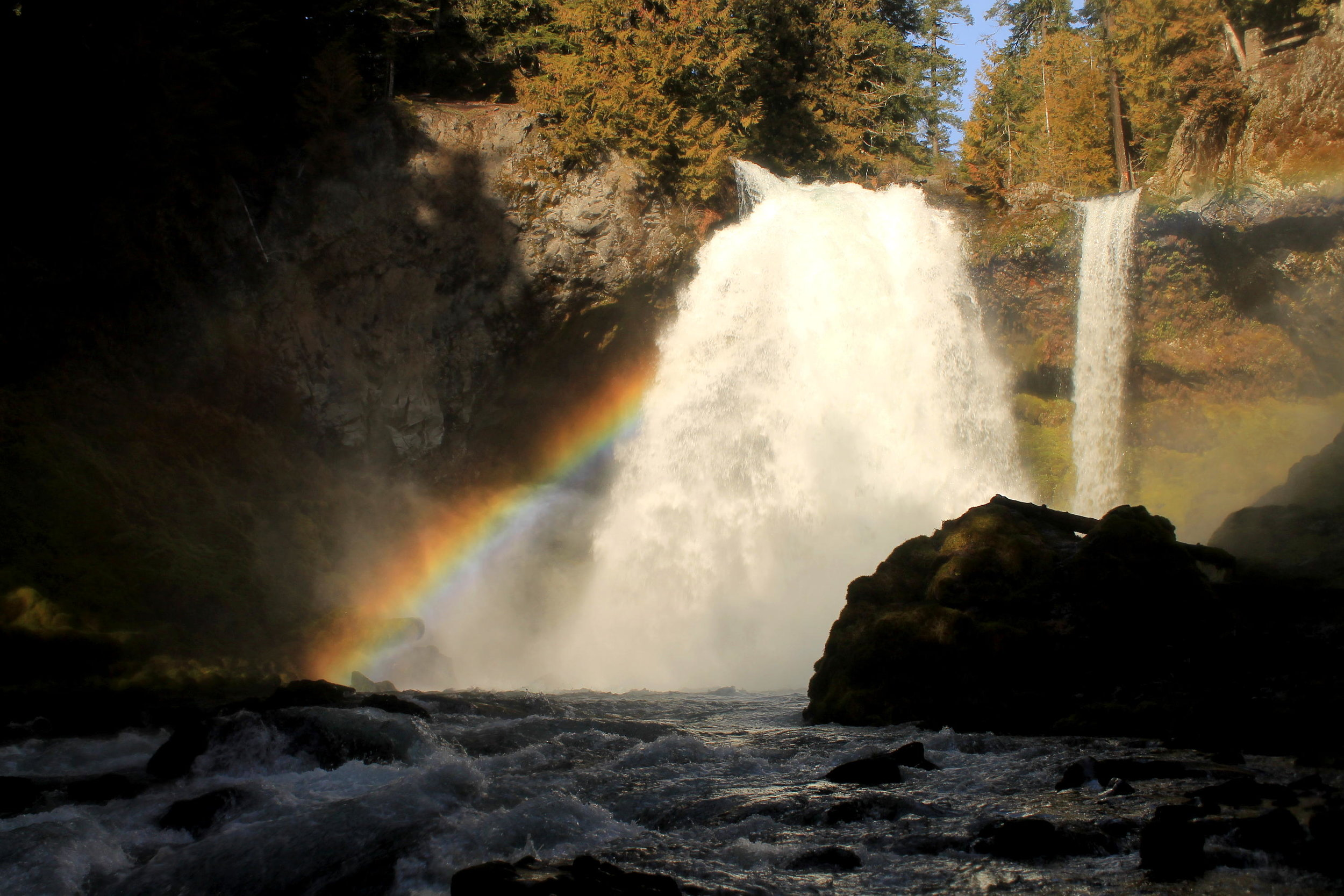 Rainbow over Sahalie Falls on the McKenzie River, January 2019. There's almost never a bad time to hike along the McKenzie River, but I particularly love coming here on sunny days in the winter when the crowds are gone and the rainbows are at their most intense.