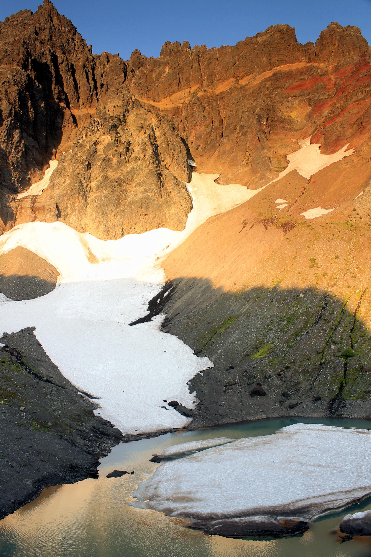 Three-Fingered Jack's glacial lake, just above Canyon Creek Meadows.