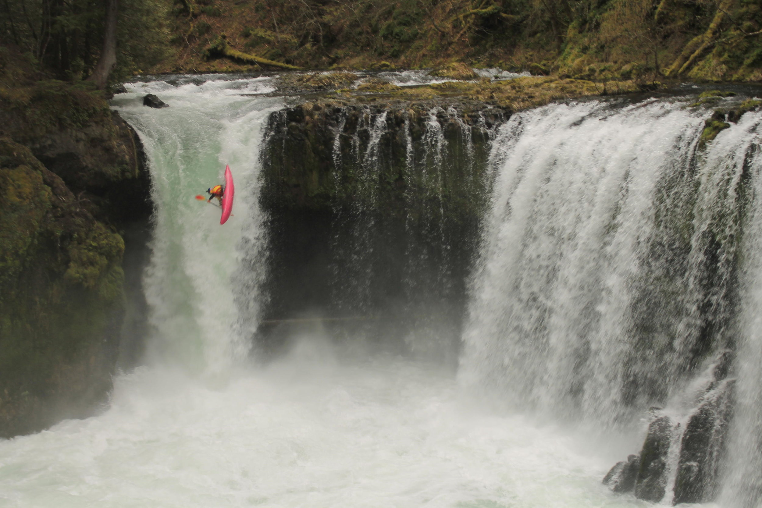 Kayaker running Spirit Falls