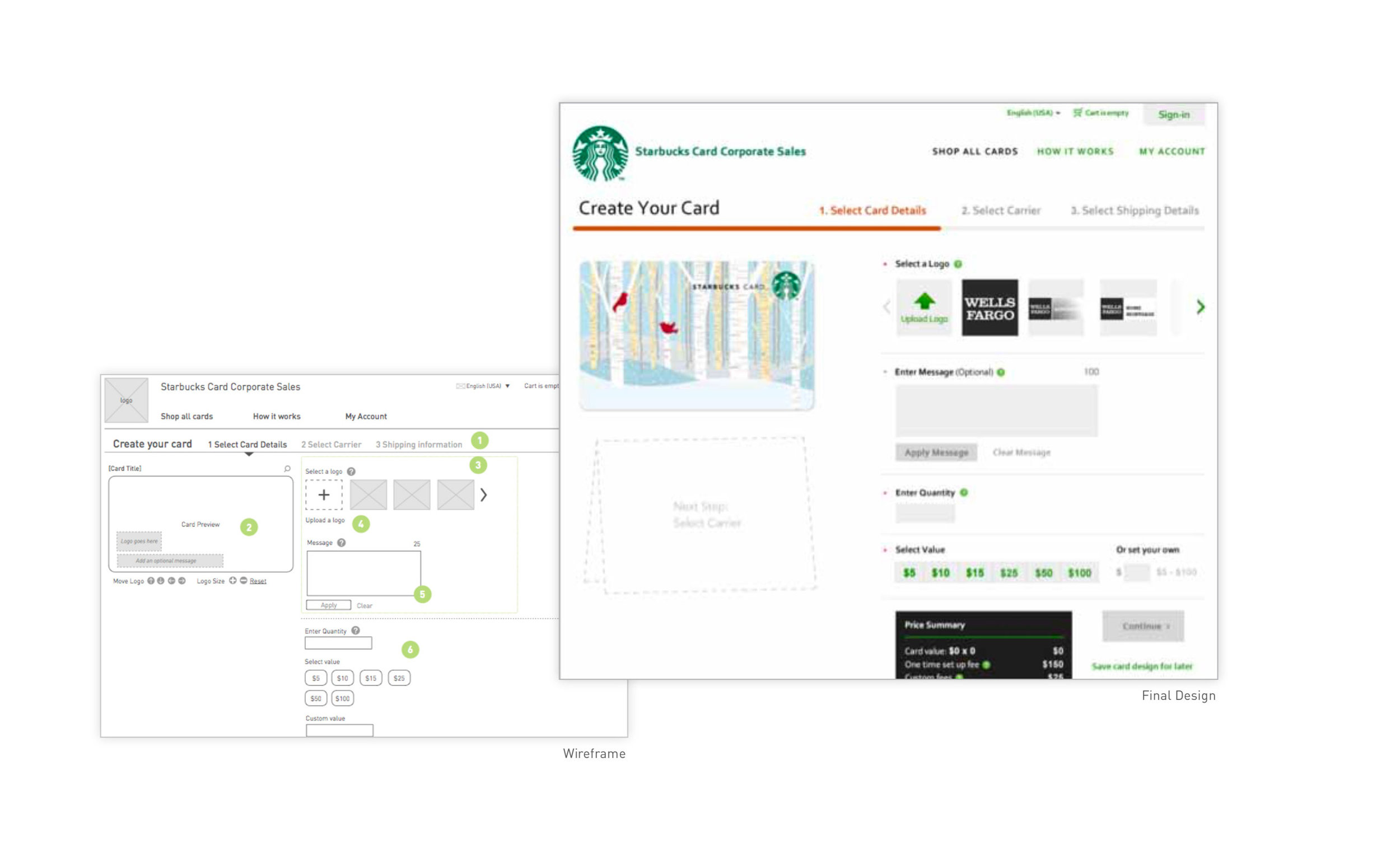 ABOUT THE PROJECT - Starbucks Corporate Cards enables businesses to send Starbucks gift cards with co-branding options, personalizations, and to order cards in bulk. Tasked with converting the existing manual process to a self server online experience.