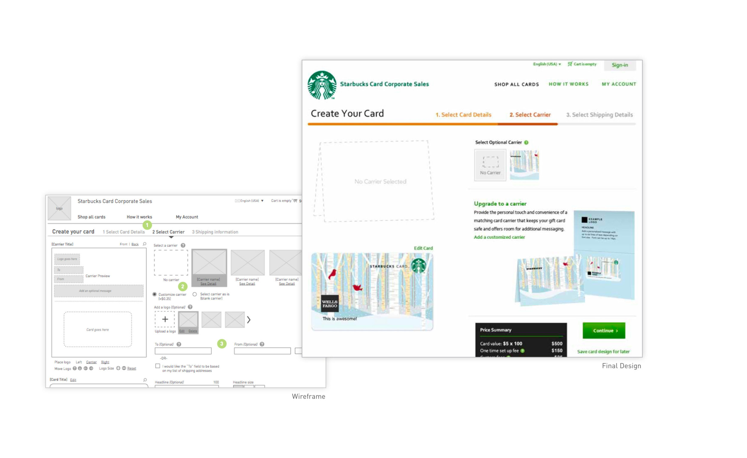 PROJECT OBJECTIVES - Create a Self-Serve Digital experience The original website provided as a catalog of options, but the ordering process was fulfilled strictly by telephone a solution that could be handled entirely on the web. Make Complex orders feel simple With the vast number of options available to Starbucks corporate customers, it was important to bring the options into a new experience in a way that would feel just as simple as speaking to a representative via phone.
