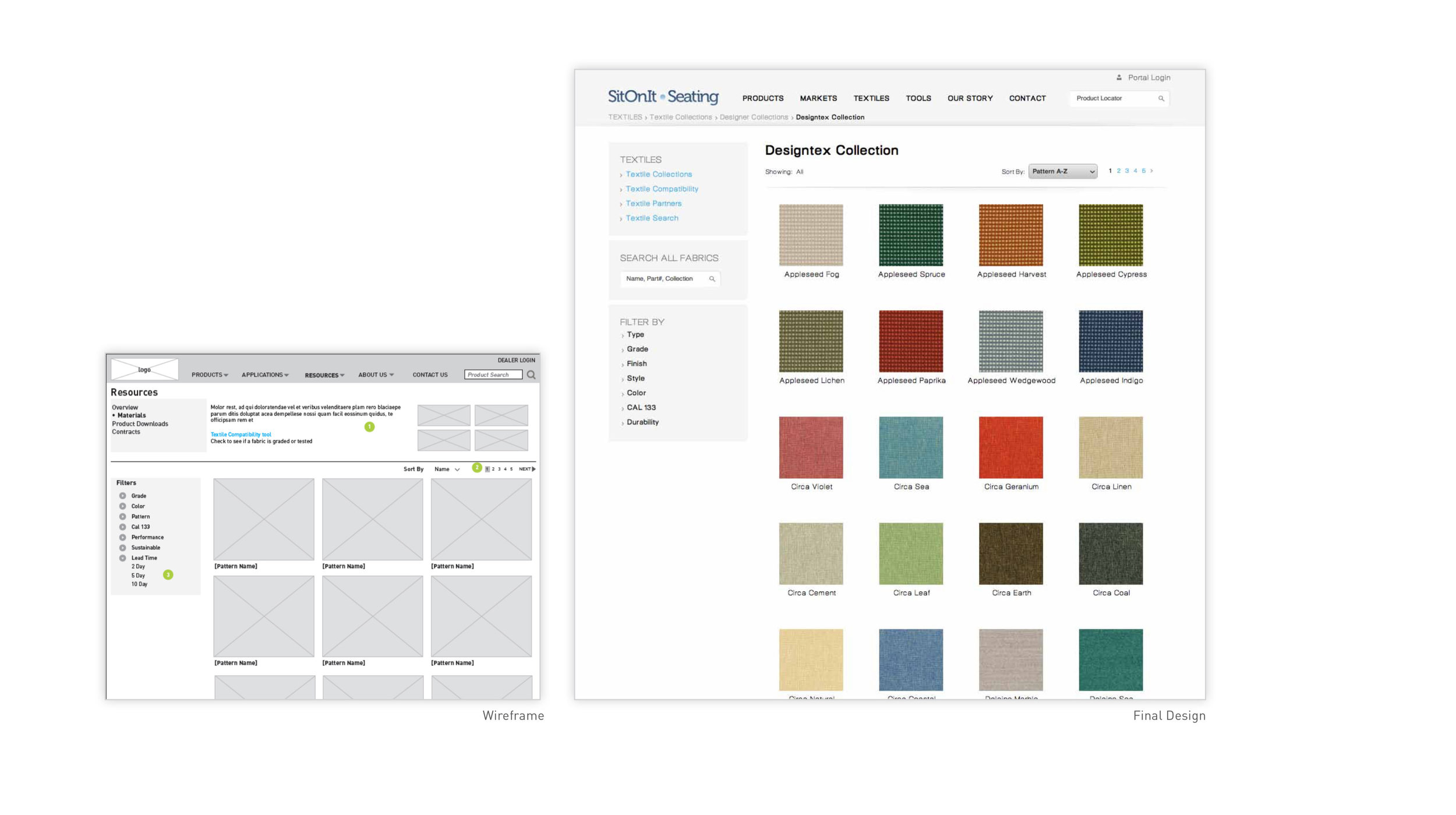 Clear & Simple - For users who are interested in browsing Exemplis' database of materials, we introduced an interface that allows mixing and matching products and featuress.Search functionality, sorting, and filtering allow directed users to quickly and easily find the textiles they are searching for.Large clear thumbnails, broken into textile categories, allowing for users to browse through the materials database.