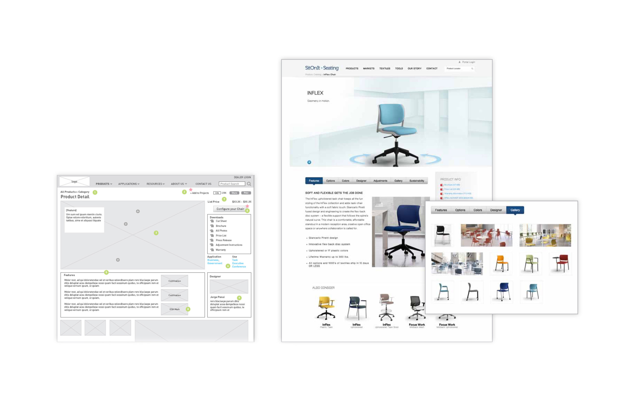Content Rich - The previous product page lacked the nesesary details to help users make a purchase decision. With the new design features and specs were added in an easy-to-navigate interface as well as a 360-degree view of the product. Large clear imagery was was used to shocase products in an enviroment.