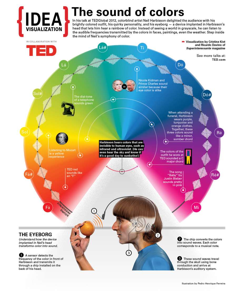 """npr :     This week on the  TED Radio Hour : Extrasensory.  Color blind artist Neil Harbisson talks about how he implanted an eyeborg device to help him """"hear"""" colors.    (Visualization by  Superinteressante )"""