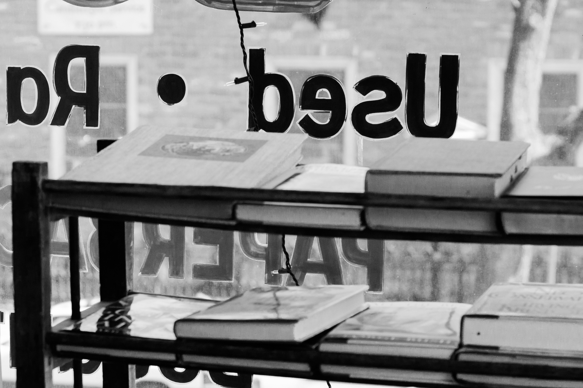 This was taken in one of my favorite bookstores, Easton, Pennsylvania's  Quadrant . Great breakfasts and rooms upon rooms of used books to explore. It's also from the first few months of my journey as a photographer, with (I believe) my old Nex-5T camera and an old Canon FD 50mm lens.