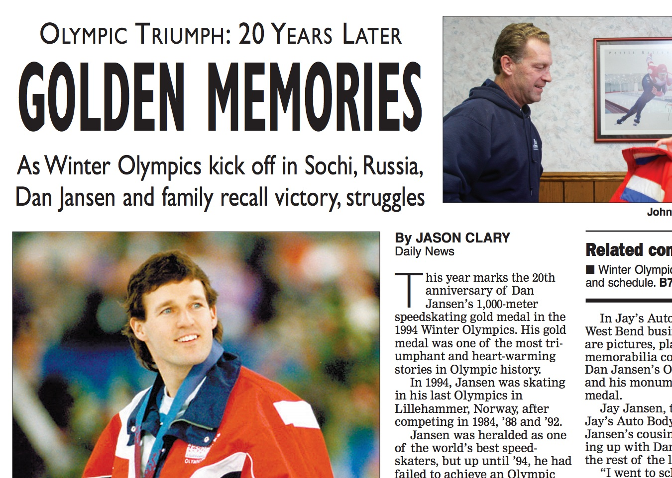 News story on Olympic gold medalist Dan Jansen.  (PDF download)