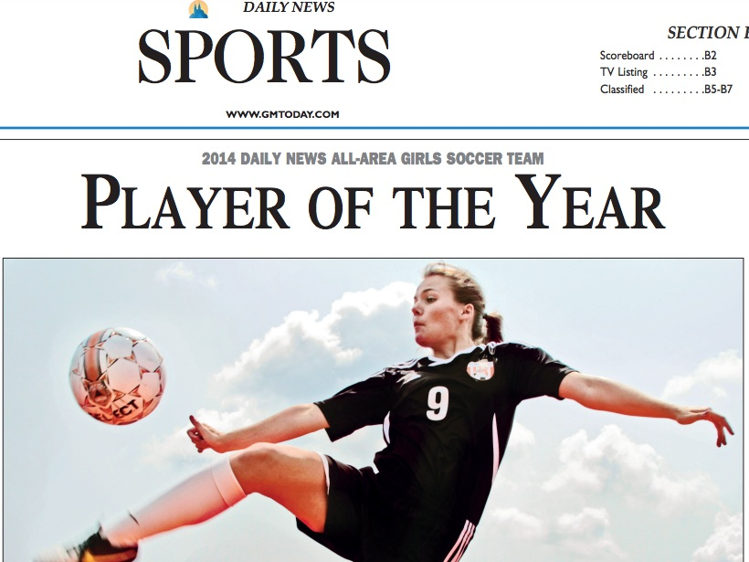 Sports story on the 2014 girls soccer player of the year.  (PDF download)