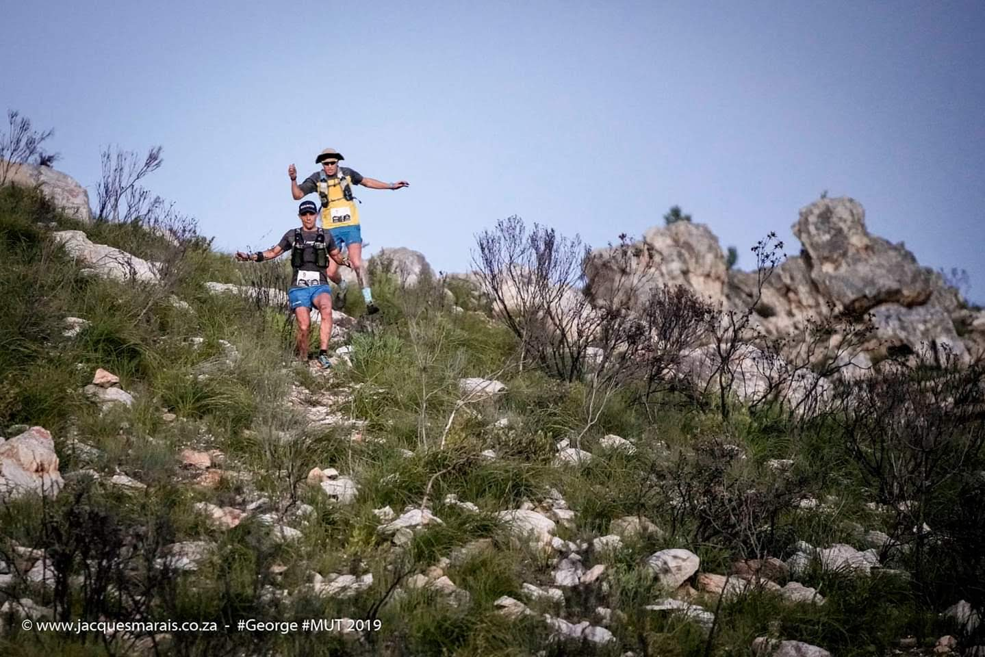 Roelof chasing Brendon down during a mountainous section of the GMUT.