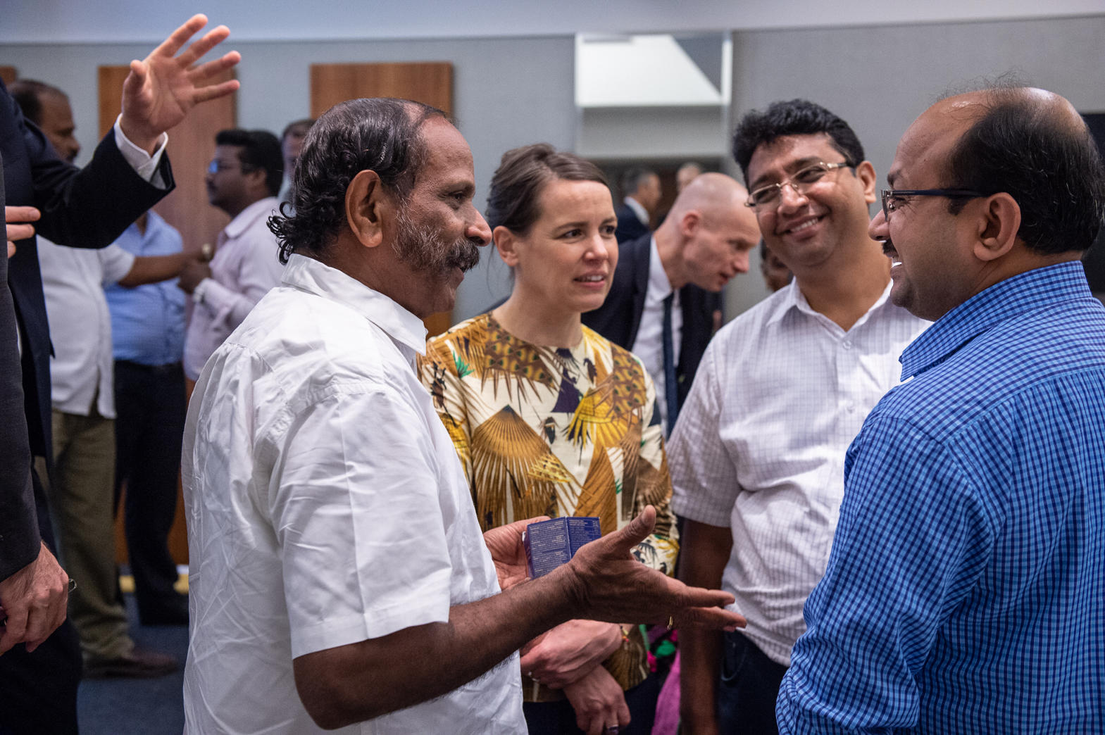 (from left) MLA Mylapore Dr. R. Nataraj, Eva Pfannes from Ooze Architects, Sudheendra N.K. from Madras Terrace and Prof. Balaji Narasimhan from IIT Madras in conversation during the third local workshop in Chennai ©CynthiavanElk/WaterasLeverage
