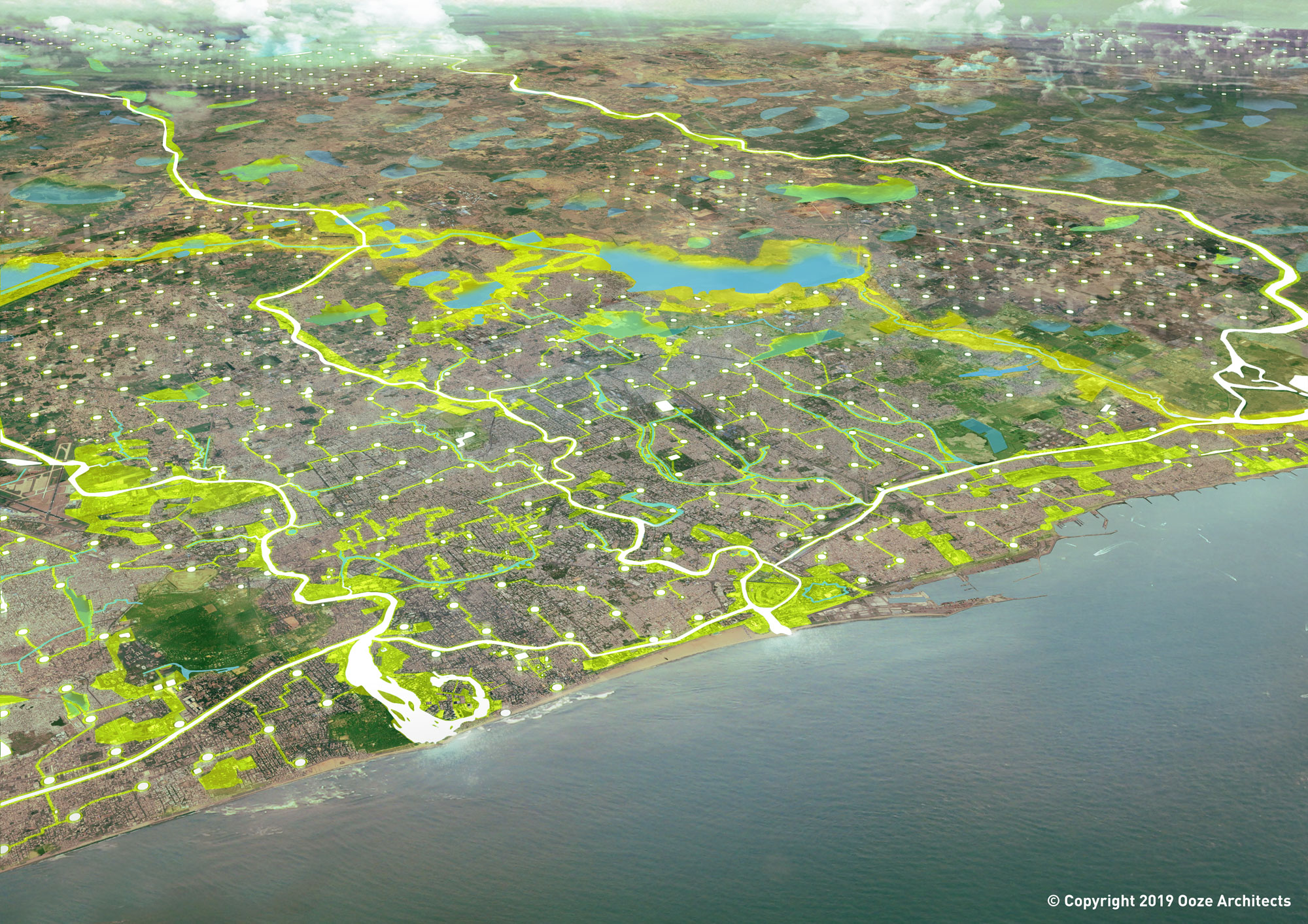 City of 1000 Tanks Vision for Chennai ©2019 Ooze Architects
