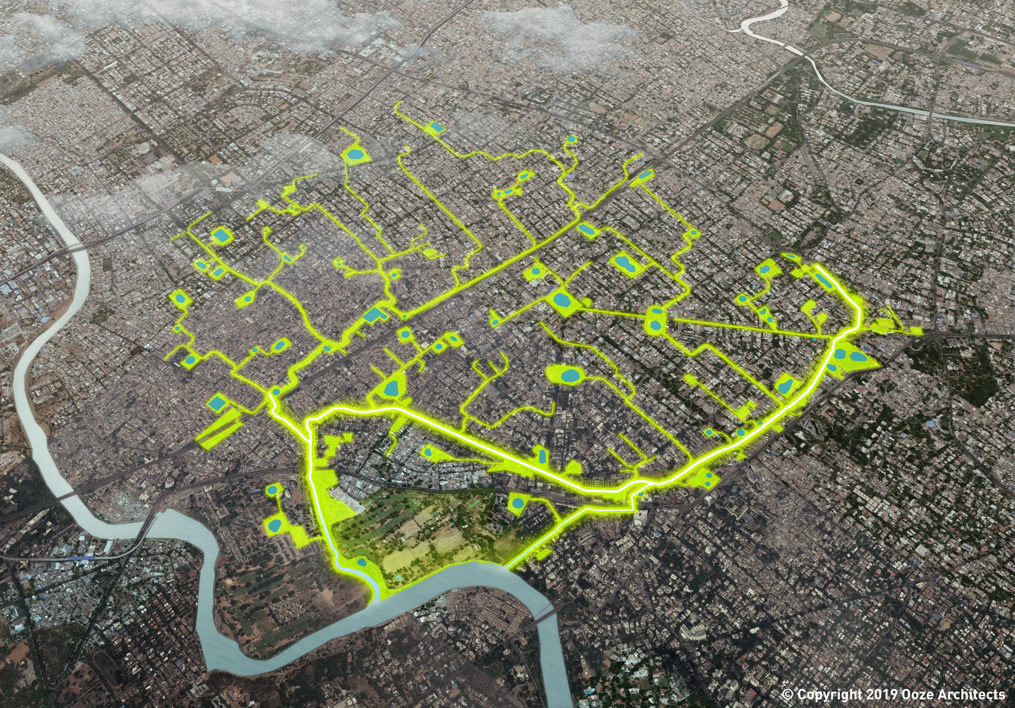 Aerial view of the Mambalam project ©2019 Ooze Architects