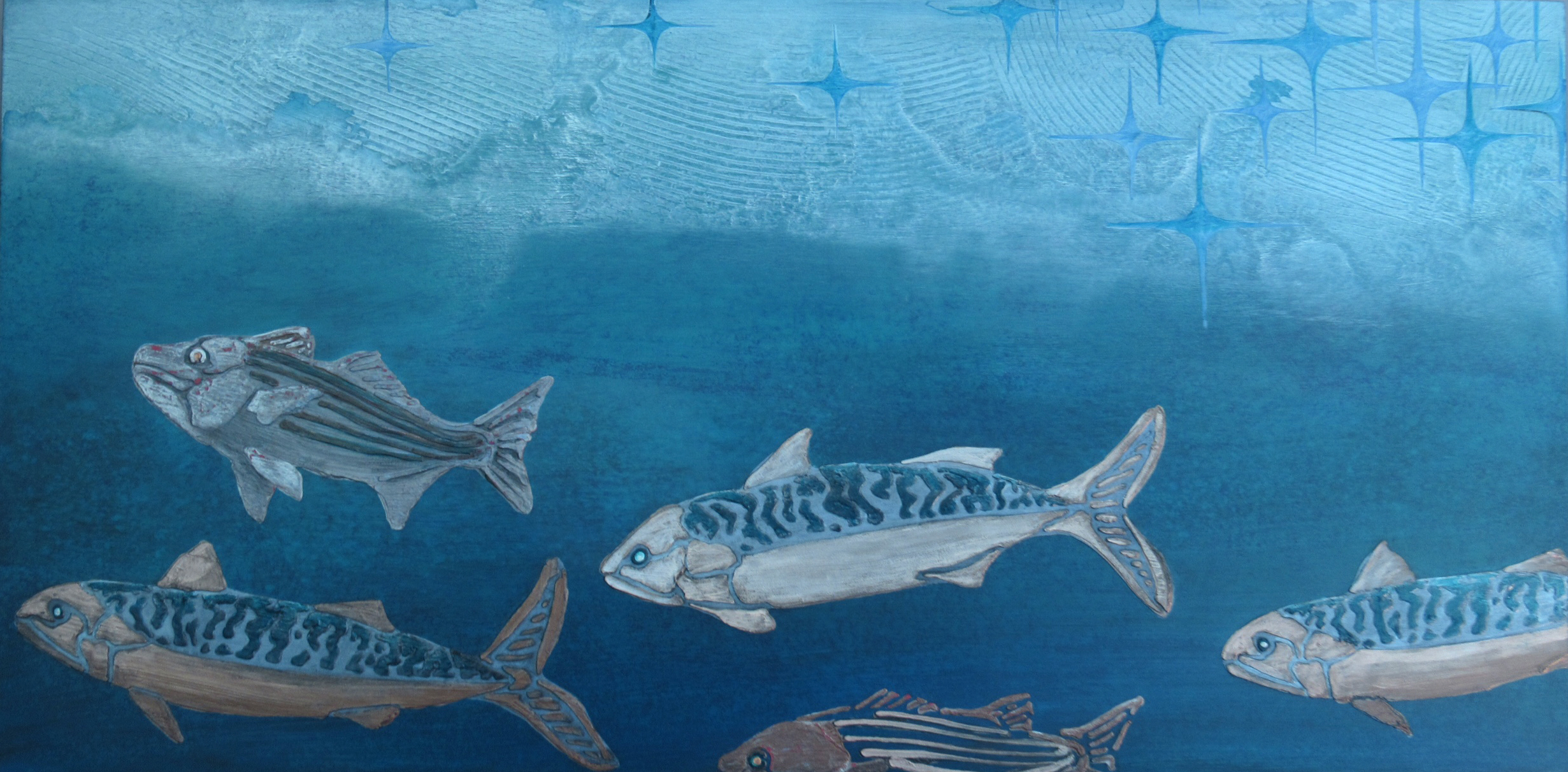 """Stripers and Mackerel - Shimmer"" Hanging at The Hichborn restuarant in Stockton Springs, ME."