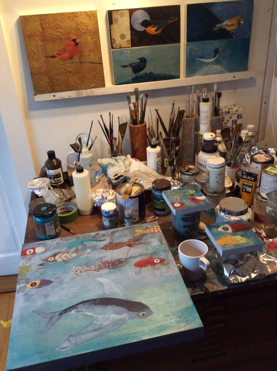 "The upstairs ""winter"" studio fills quickly with materials, coffee, and small works-  Sometimes large ones too."