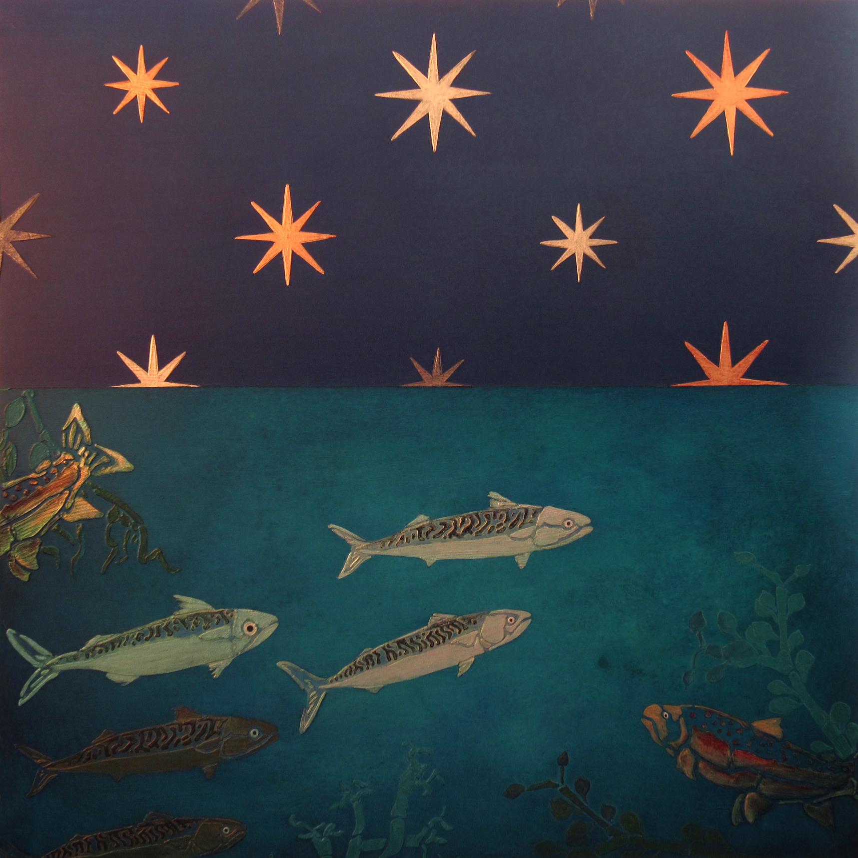 Night Swim - Mackerel and Salmon (After Giotto)