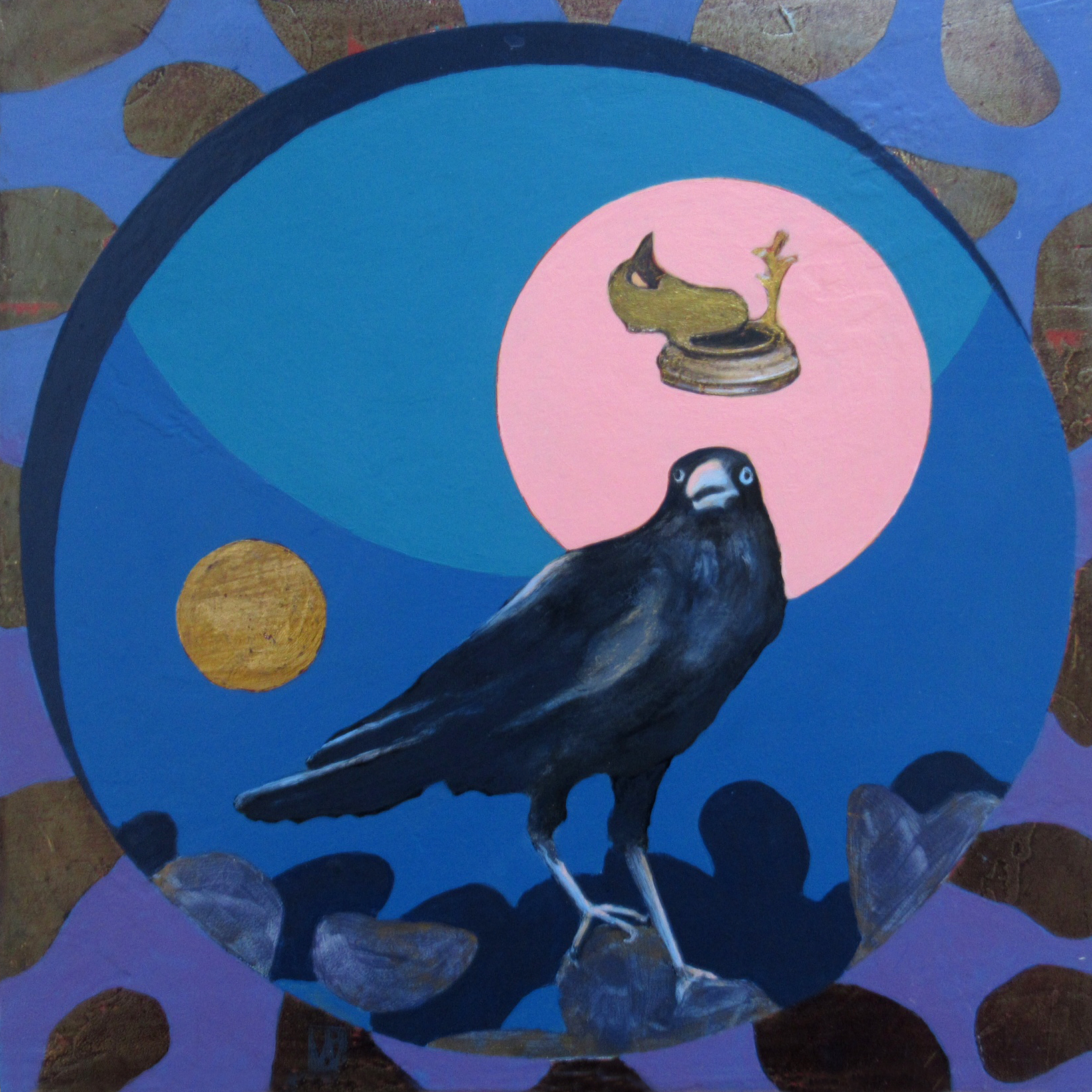 """Lunar Cycles - Fish Crow with Mussels and Strwberry Moon"""""""