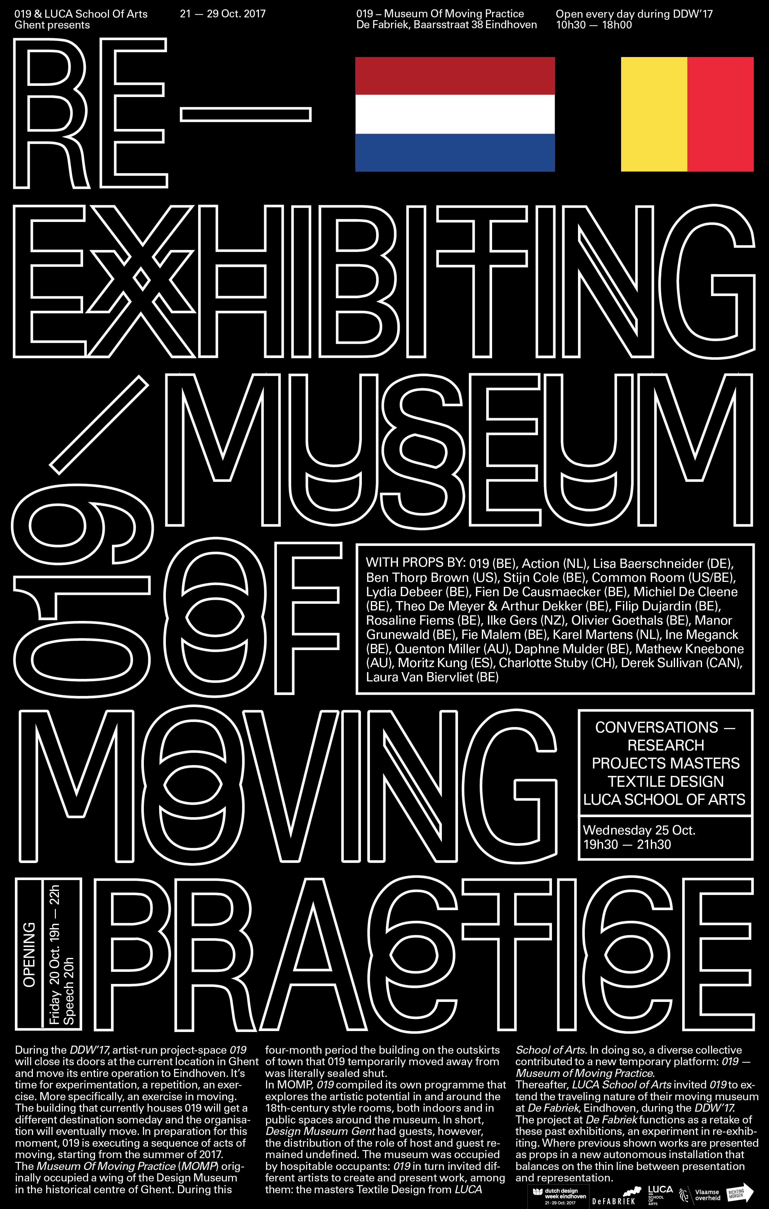 RE-EXHIBITING MUSEUM OF MOVING PRACTICE - Dutch Design Week - De Fabriek (NL)   21/10/2017-29/10/2017