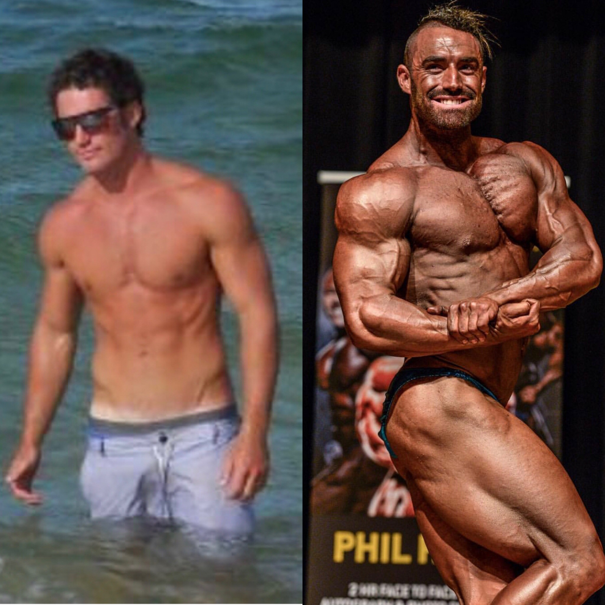 Before photo 6 months into training - After photo IFBB Nationals 2017 (6 year difference)