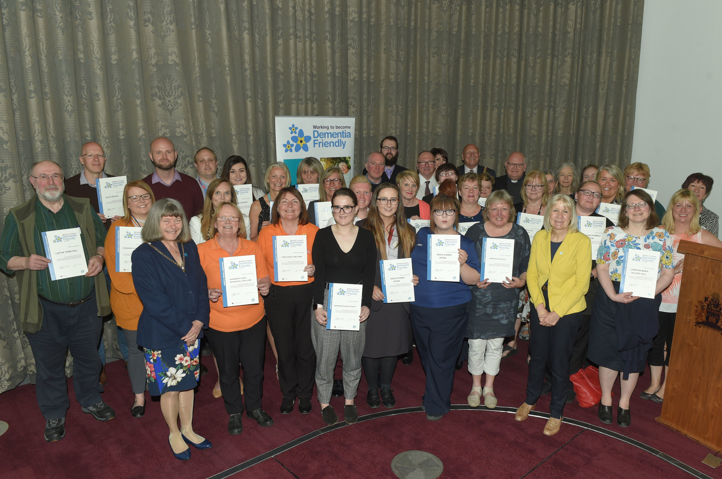 Redcar and Cleveland businesses receiving their Dementia Friendly accreditation at the awards ceremony in April at Redcar Cleveland Community Heart.