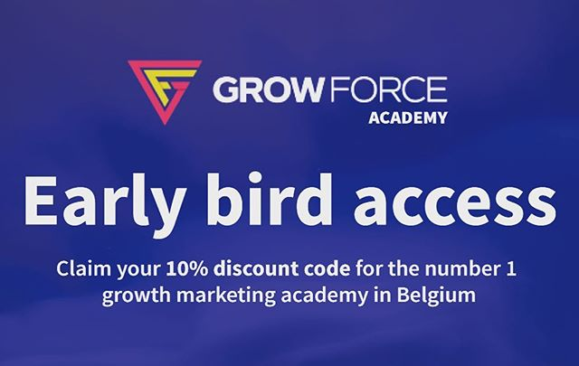 register for the first #growthmarketing #academy in Belgium. Claim your 10% discount here -  earlybird.growforce.academy