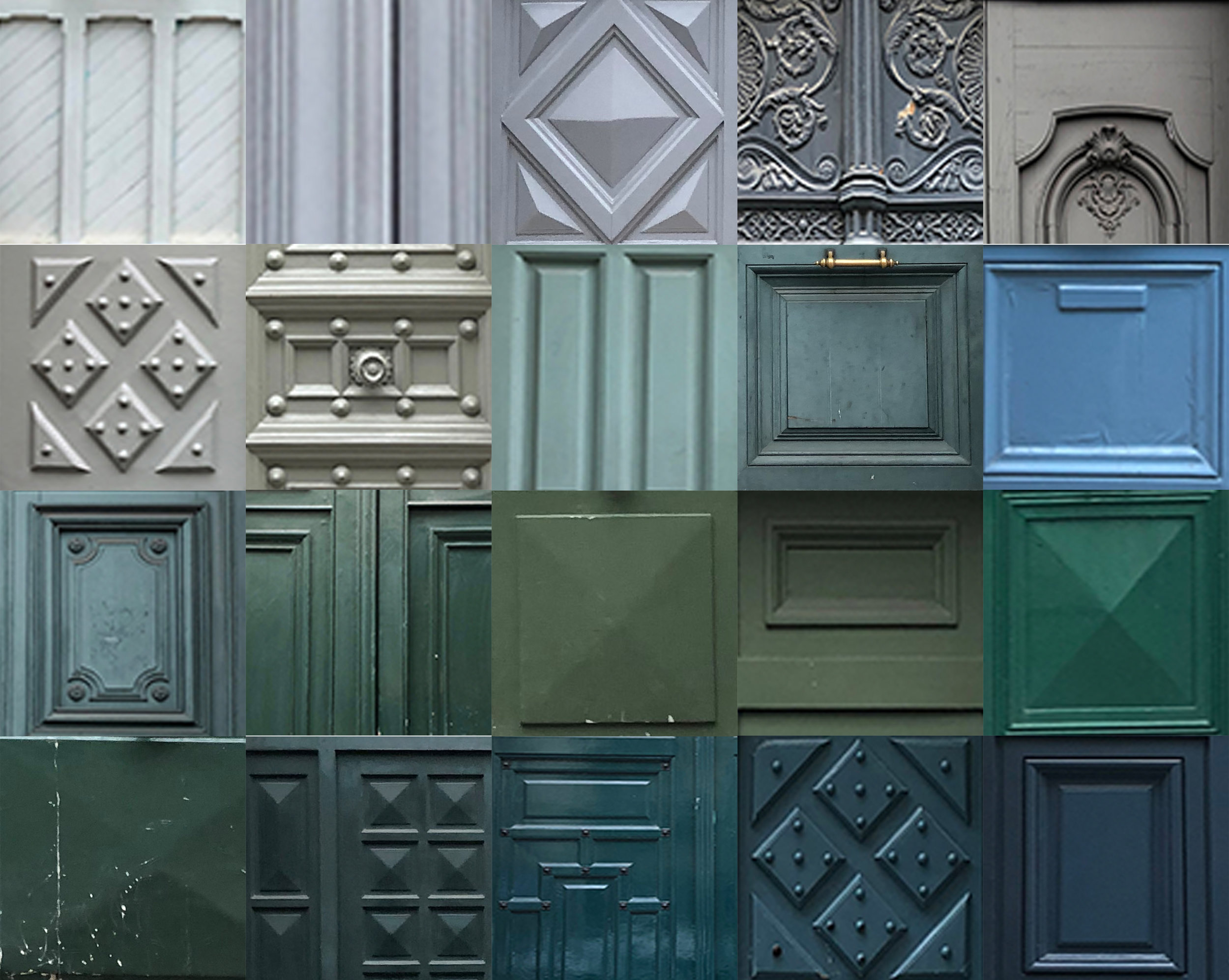 A value chart of door swatches