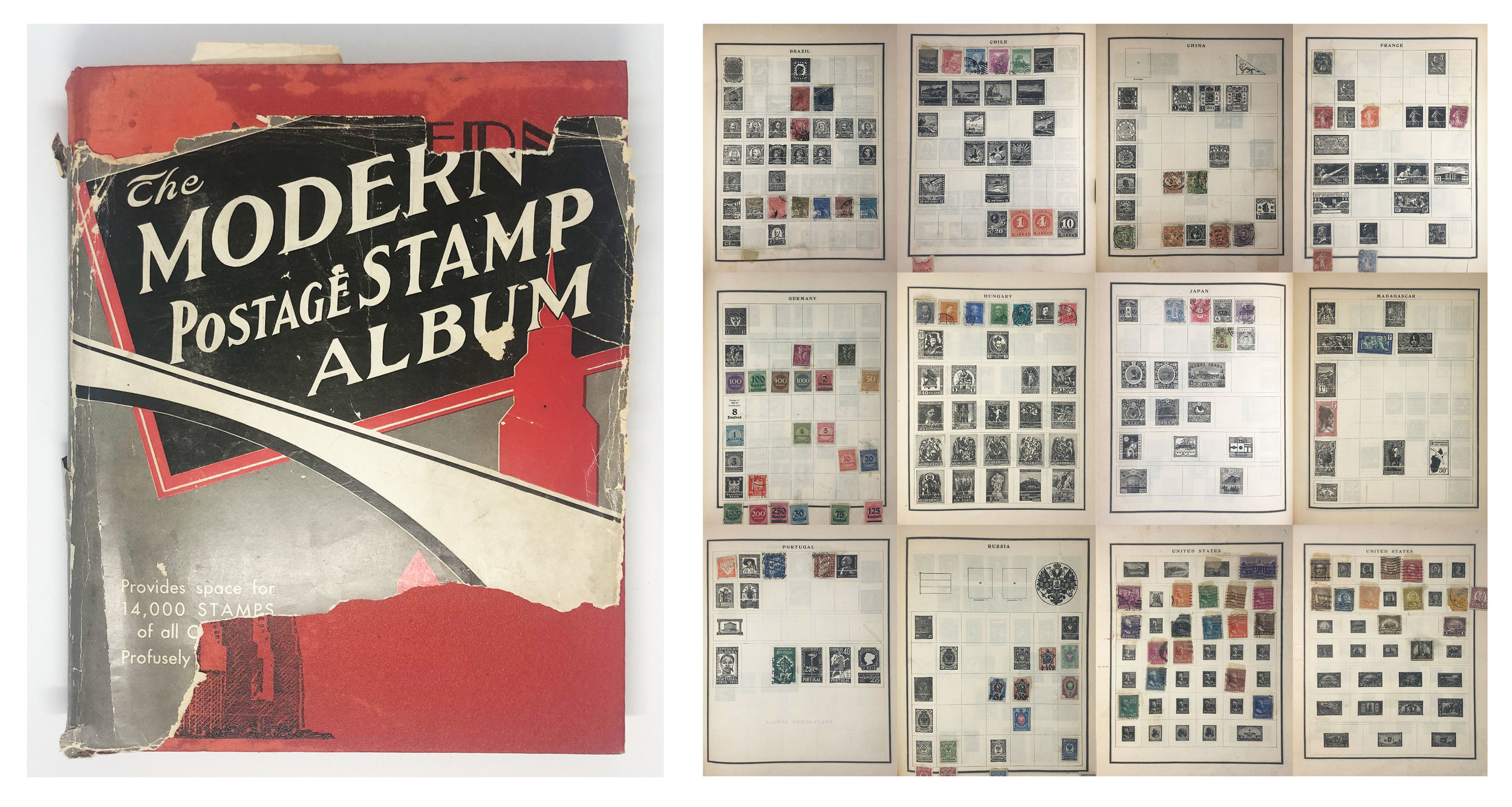 Pop's collection of stamps