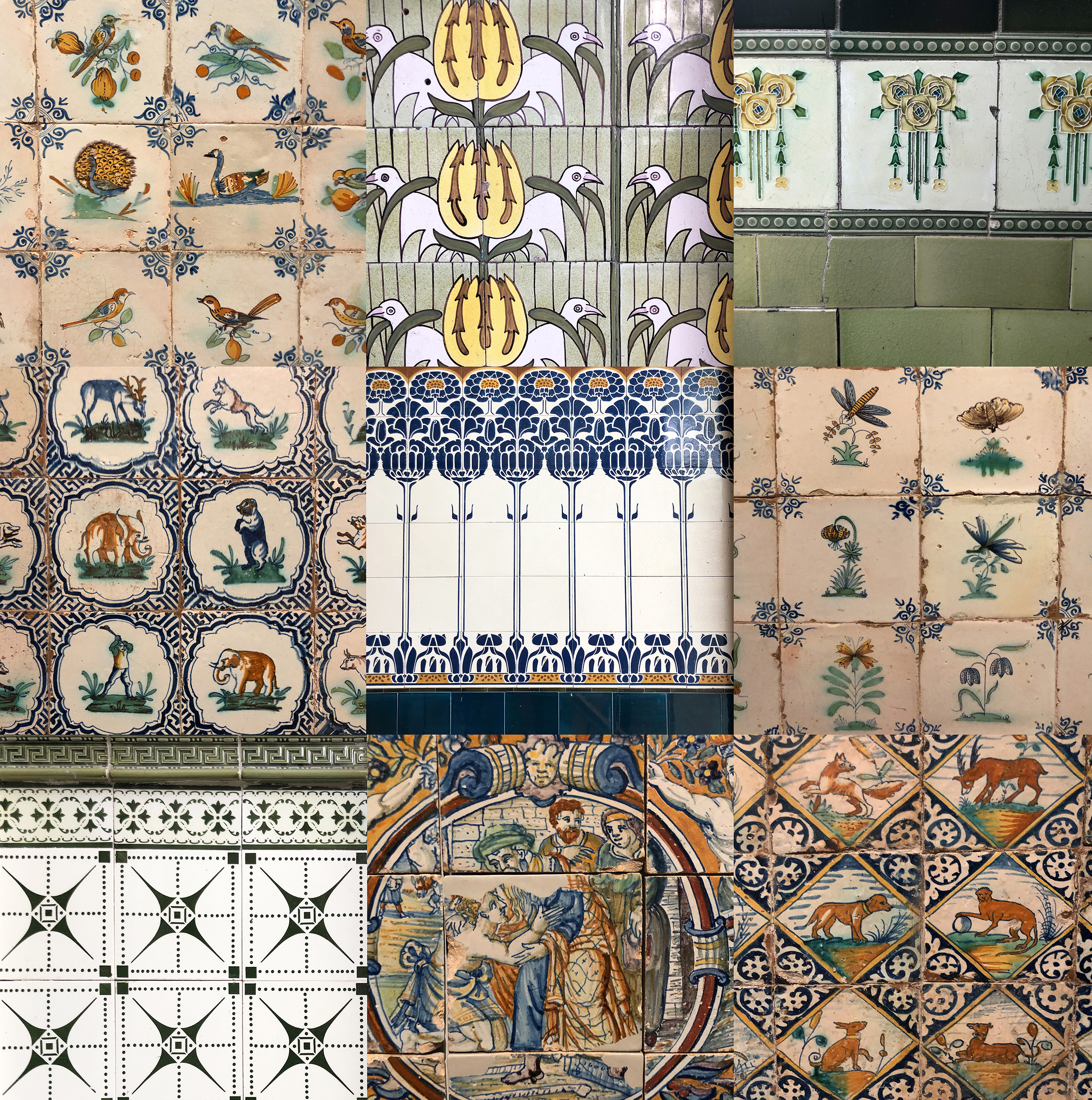 Examples of different types of Dutch tile imagery