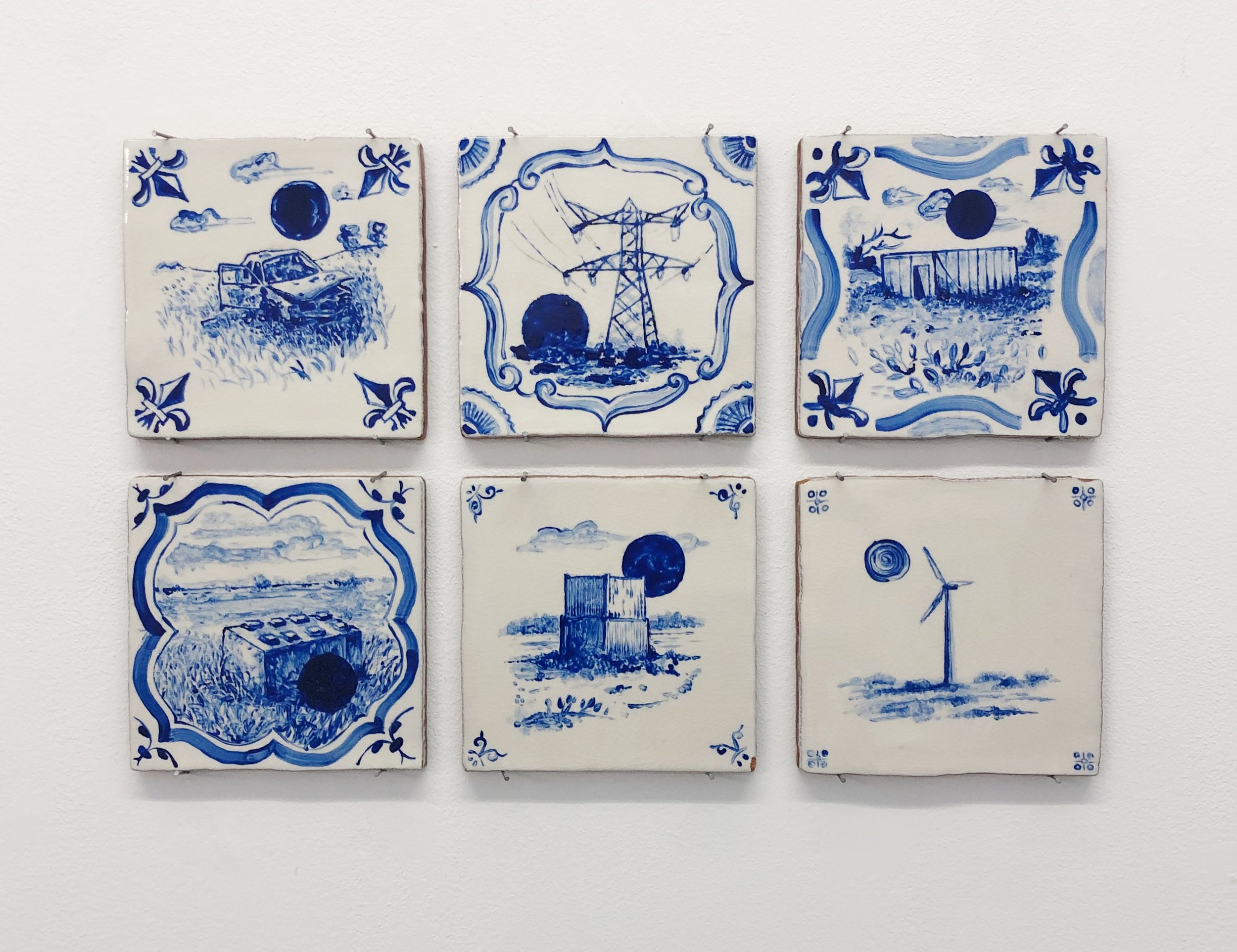 "Lawrence James Bailey, ""Black Holes in the Dutch Countryside"" (2019), glazed ceramic tiles (each 13x13x.08cm)"