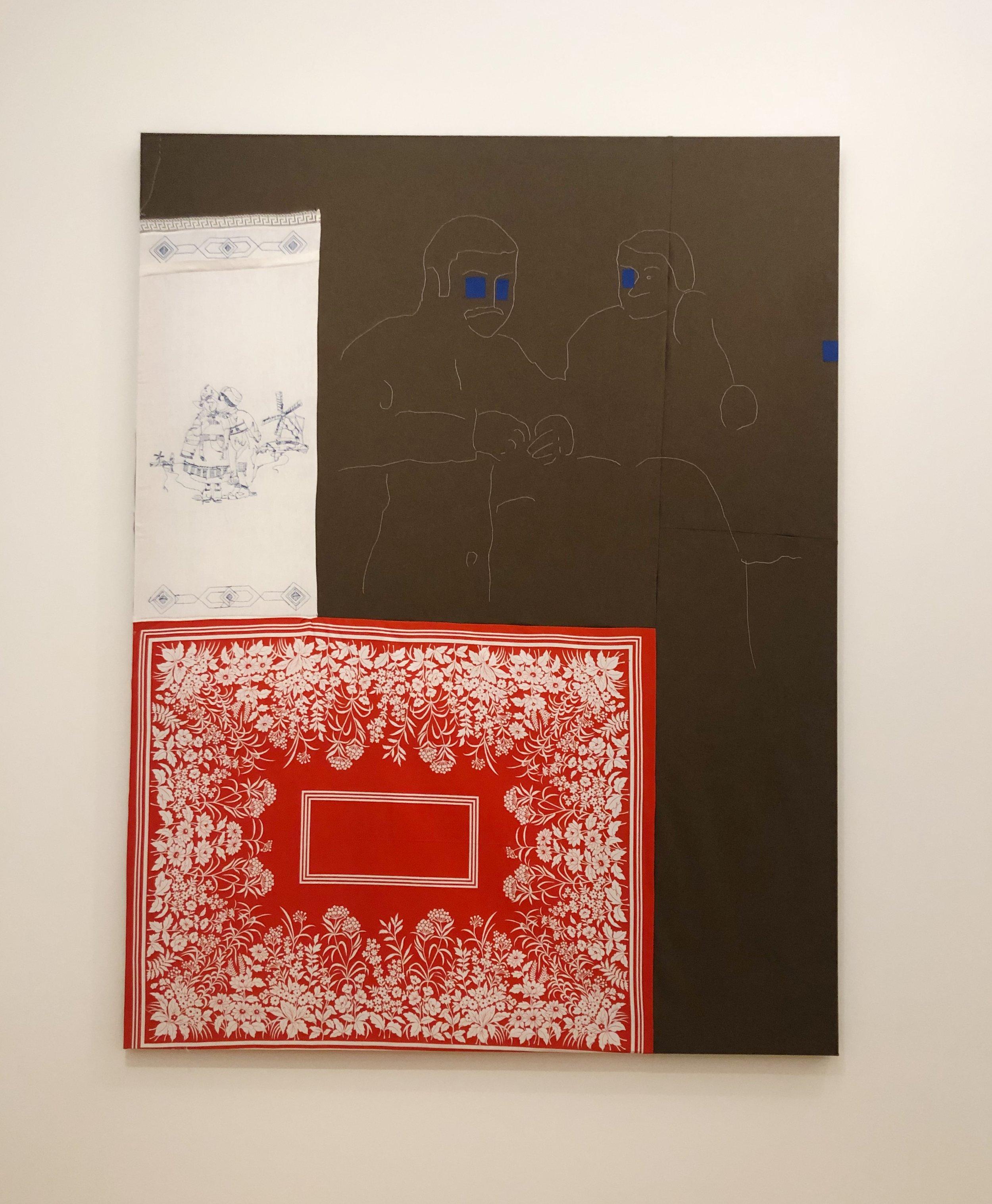 "Cosima Von Bonin, ""Markus and Blinky,"" (2000), lead, cotton, cloth, adhesive tape"
