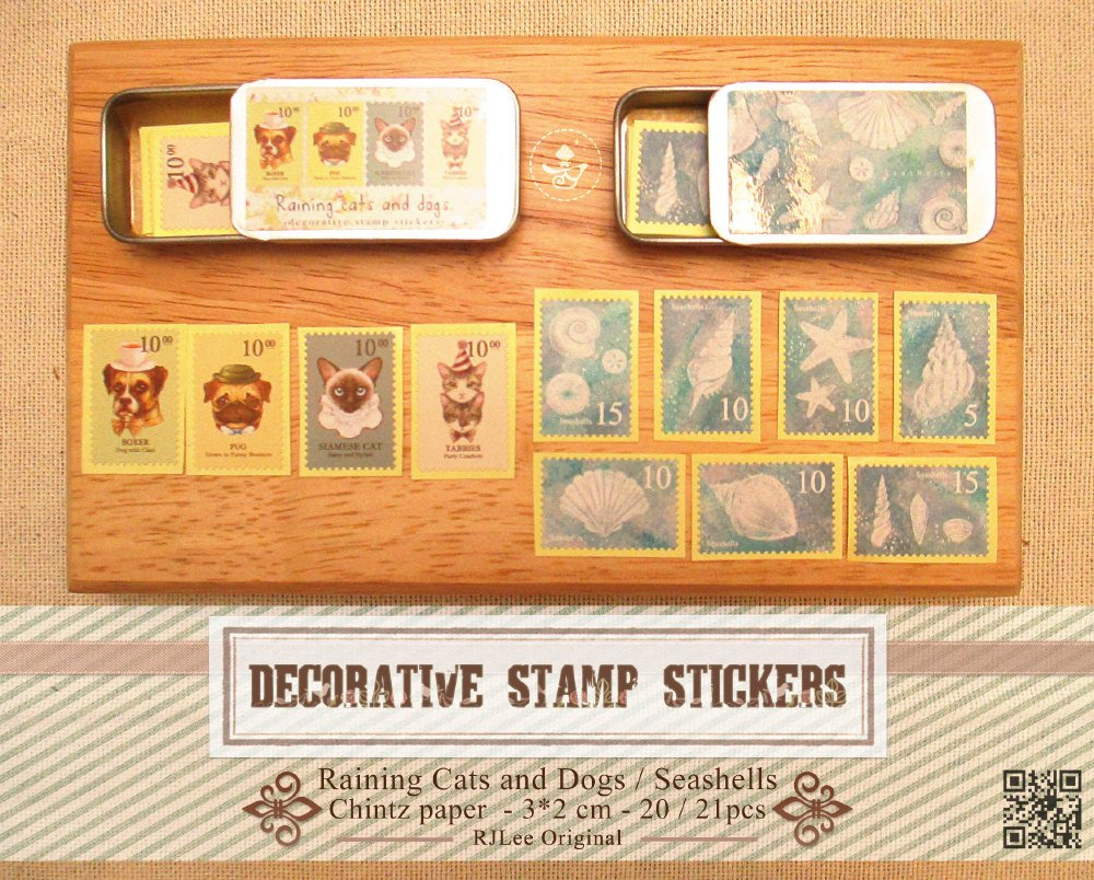 迷你鐵盒裝飾郵票貼紙 NT$100/盒