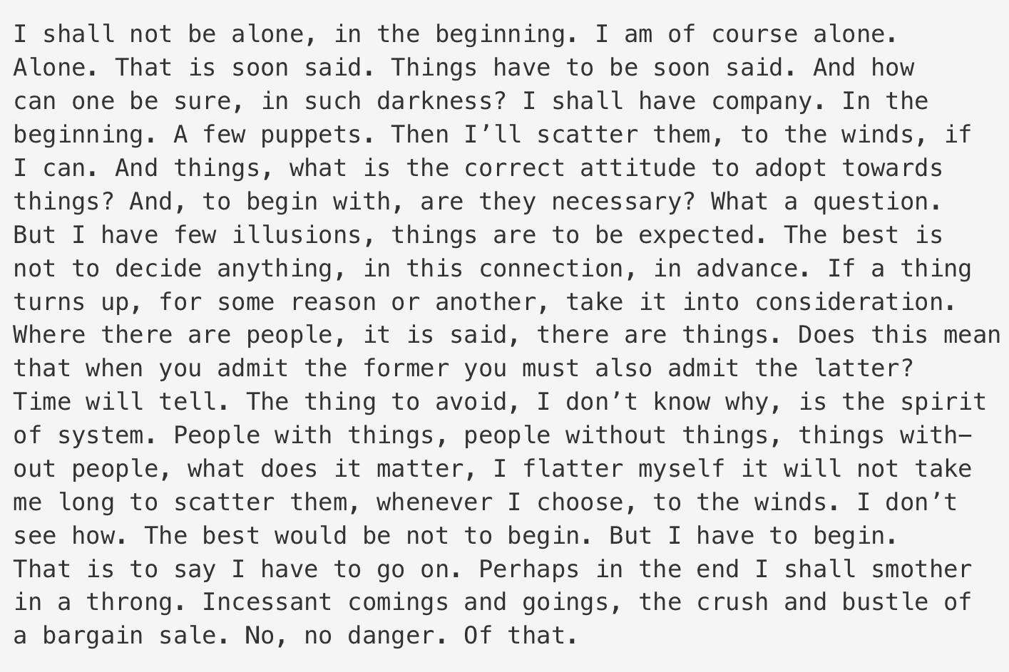 Samuel Beckett's The Unnamable