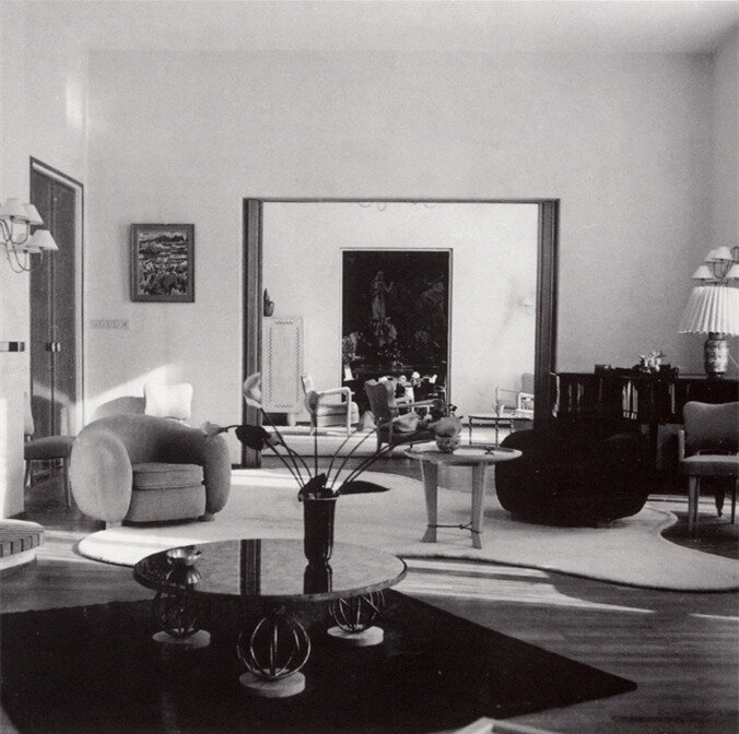 """Interior by Jean Royère, featiring the """"Ours Polaire"""" armchair"""