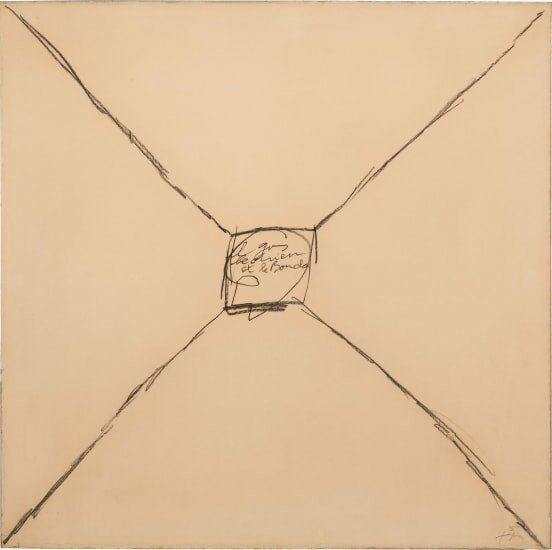 The Dog and the Buddha, graphite on paper (1973) by Antoni Tàpies