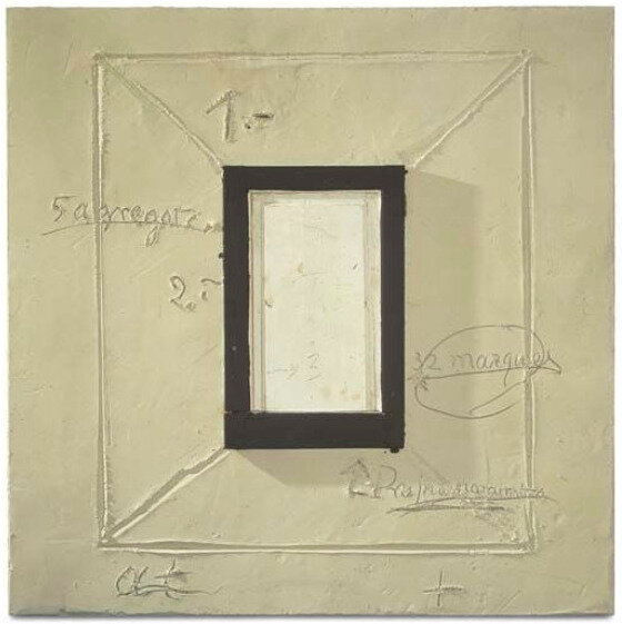 Finestra,  Plaster and wooden frame on board (2000)  by Antoni Tàpies
