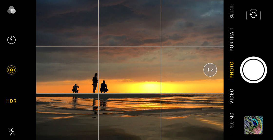 iPhone Grid Lines picture taking example with people looking at a sunset..jpg