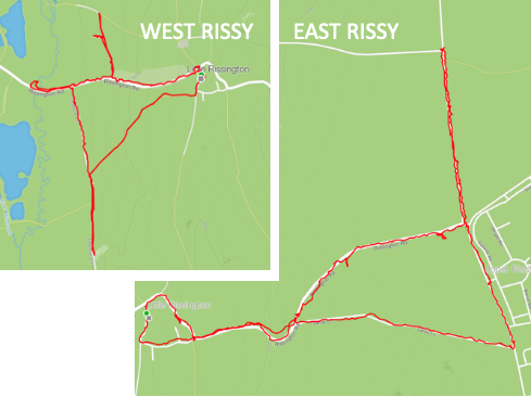 The red lines show how to litter-pick the entire Little Rissington parish road system in two sorties. A sortie can be completed in under two hours.