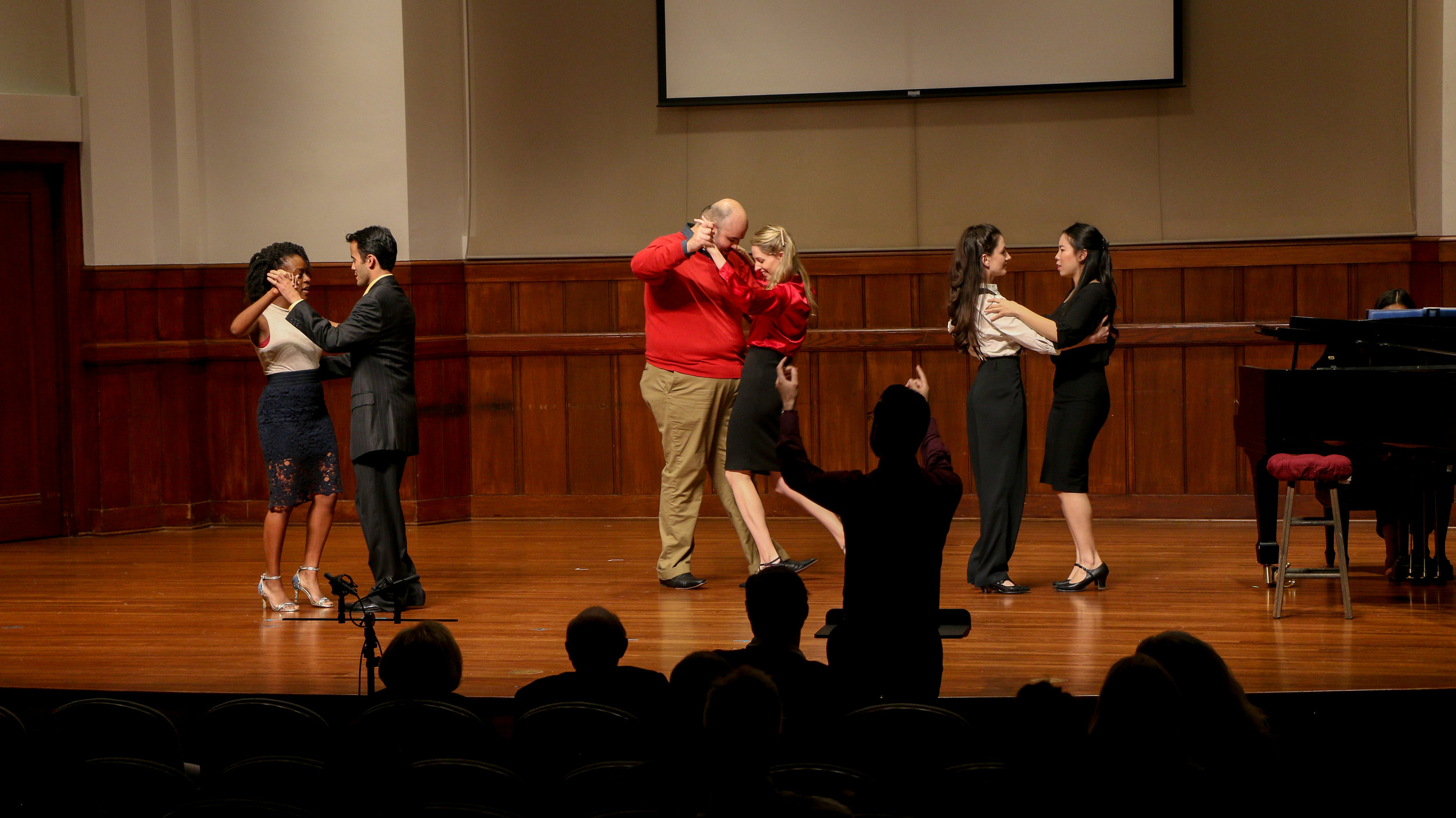"Composer Nicolas Lell Benevidas conducting his scene, ""Gilberto"" in Newman Recital Hall at University of Southern California."