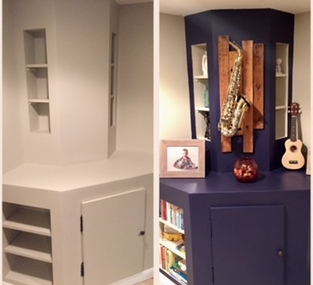 This corner shelving unit was built to hide a sump pump in the basement. By painting this awkward corner a navy blue, and leaving the shelves white- the items on the shelves really POP! The saxophone has sentimental value, and is hung on a DIY display of pallet wood.
