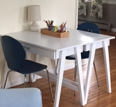These desks are the perfect size for a homework station for busy students.