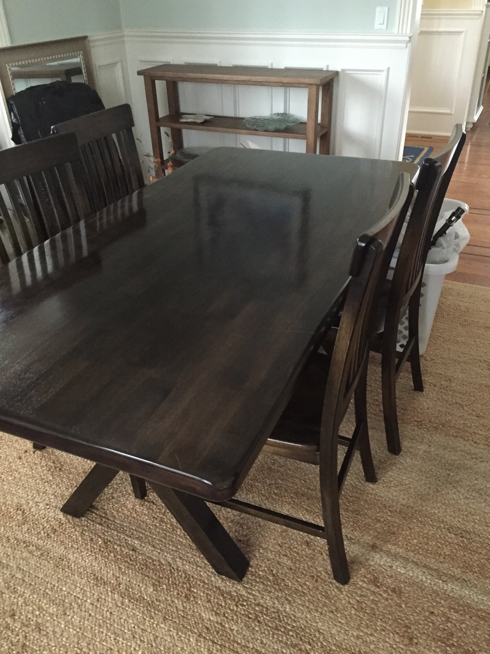 This farmhouse style table with a bench was not needed for the dining room, and provides great workspace for the entire family.