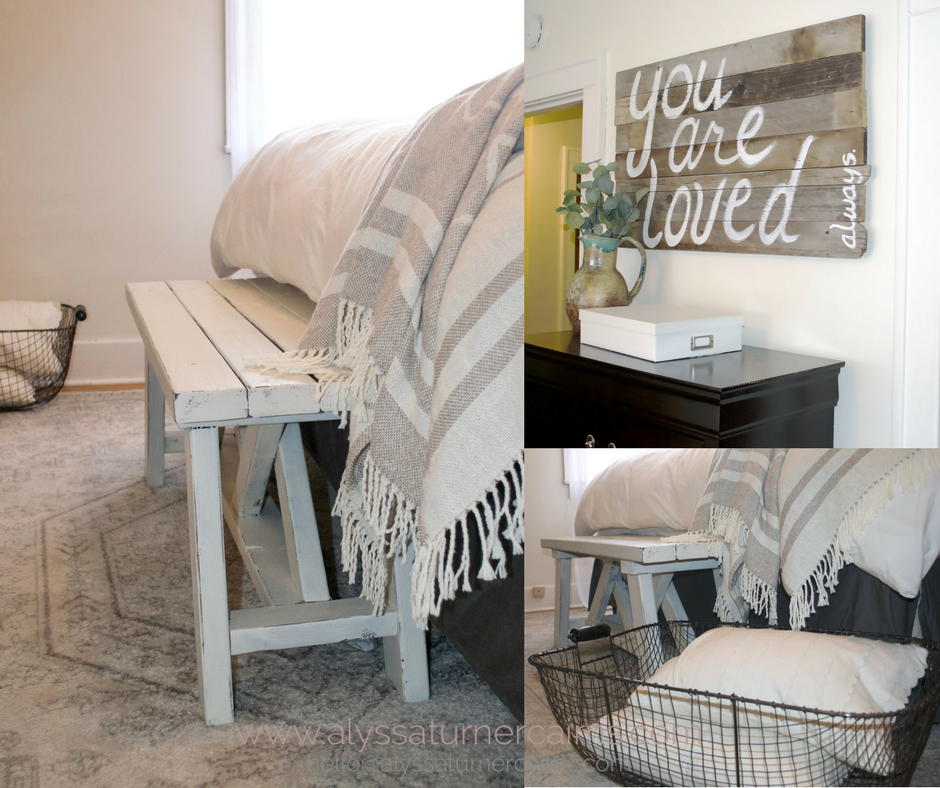 This bench was a lucky find at a local shop, and the creamy linens, crisp white sheets, and muted ivory rug blend to create a warm and inviting space that is till bright and clean.