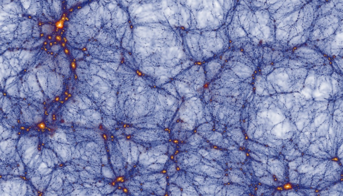 A slice through the    Millennium XXL    simulation showing the cosmic web of structures. The bright yellow regions are the high density clusters that form at the intersection of filaments.
